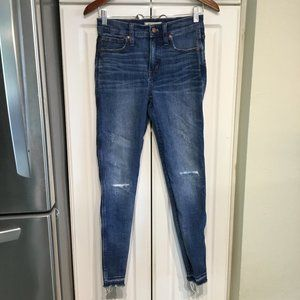 Madewell High Rise Skinny Distressed Ankle Jeans